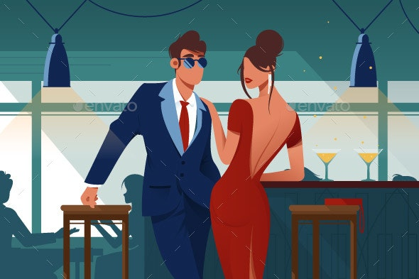 Flat Young Romantic Couple in Restaurant on Date - People Characters
