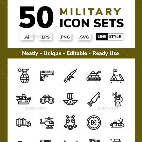 Military Icon - Line Style