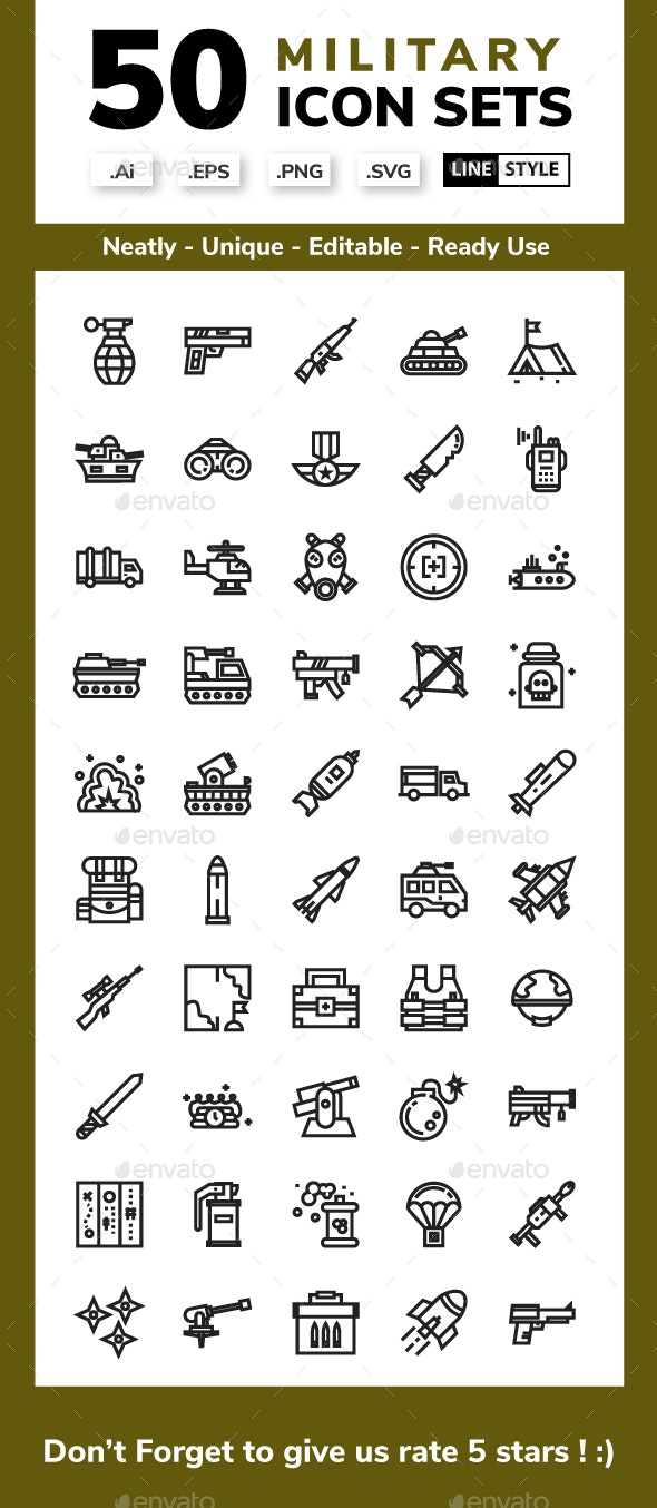 Military Icon - Line Style - Miscellaneous Icons