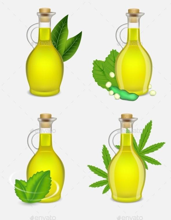 Different Types of Plant Oil Bottle Set - Health/Medicine Conceptual