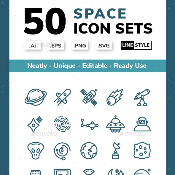 Space - Line Icons Style