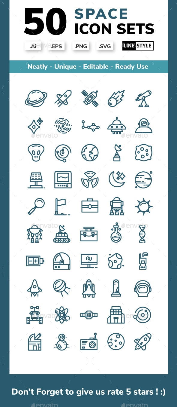 Space - Line Icons Style - Miscellaneous Characters