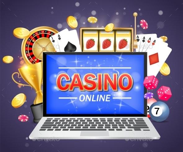 Online Casino Vector Poster Banner Design Template - Computers Technology