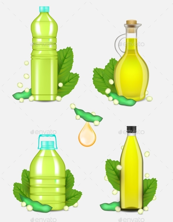 Soy Oil Bottle Set Vector Realistic Illustration - Food Objects
