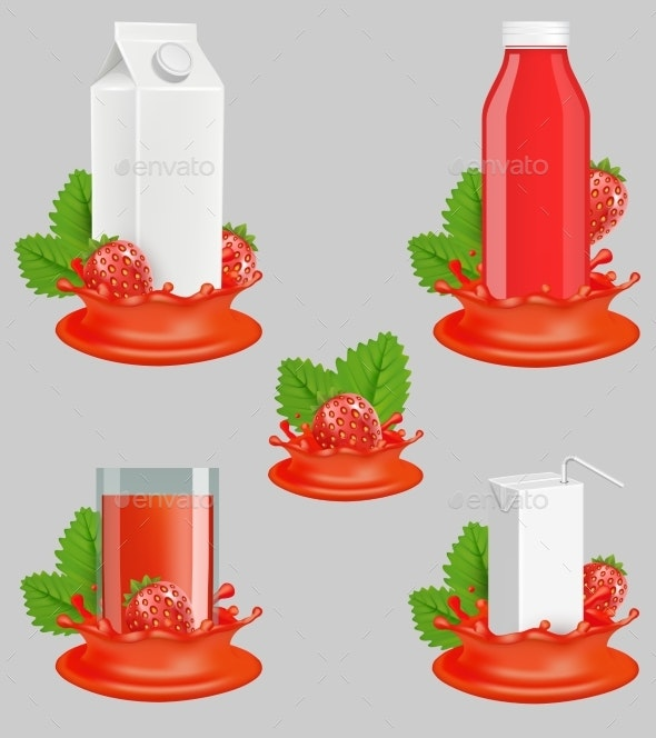 Strawberry Juice Package Vector Realistic Mockup - Food Objects