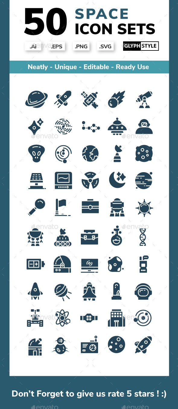 Space - Glyph Icons Style - Miscellaneous Icons