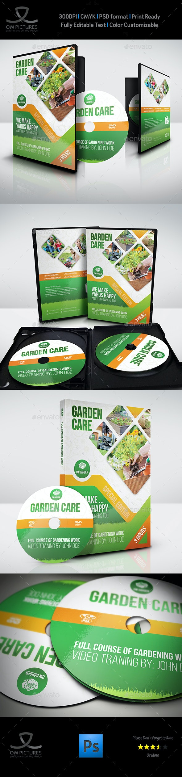 Garden Care DVD Cover and Label Template - CD & DVD Artwork Print Templates