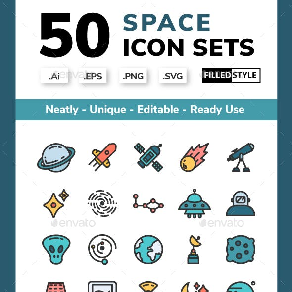 Space - Filled Line Icons Style