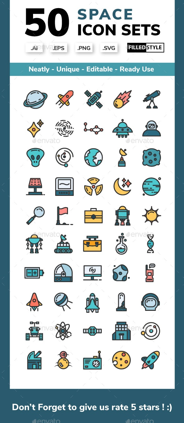 Space - Filled Line Icons Style - Miscellaneous Icons