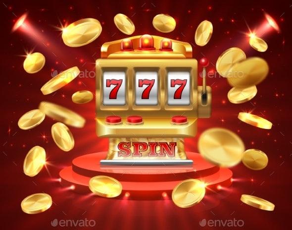 Slot Machine Banner Casino Gambling Roulette - Backgrounds Decorative