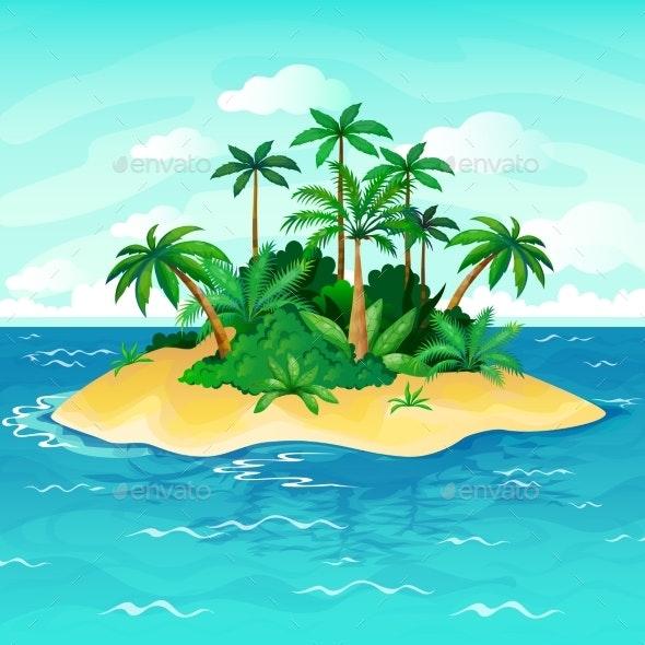 Ocean Island Cartoon - Landscapes Nature