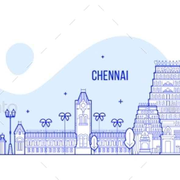 Chennai Skyline Tamil Nadu India City Vector Line