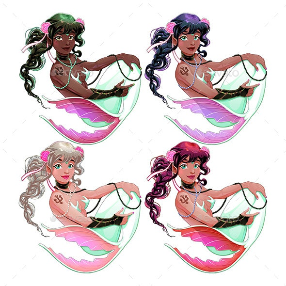 Group of Mermaids with Different Skin and Hair Colors - People Characters