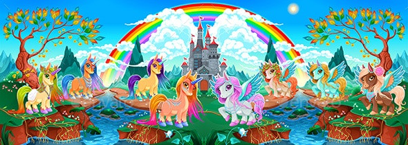 Groups of Unicorns and Pegasus in a Fantasy Landscape - Animals Characters
