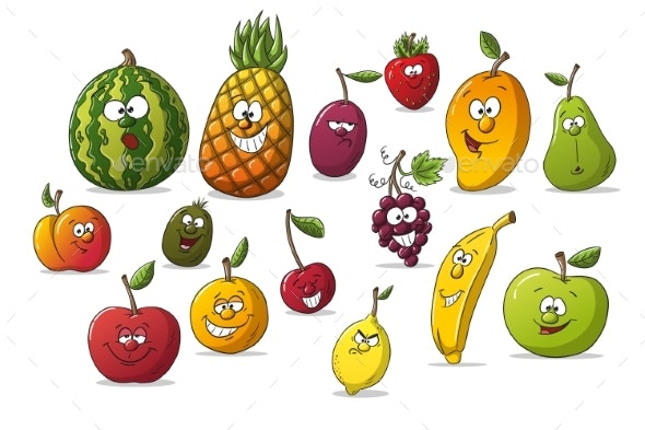 Collection of Some Different Cartoon Fruits - Food Objects