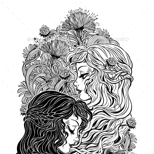 Two Girl Characters As Day and Night