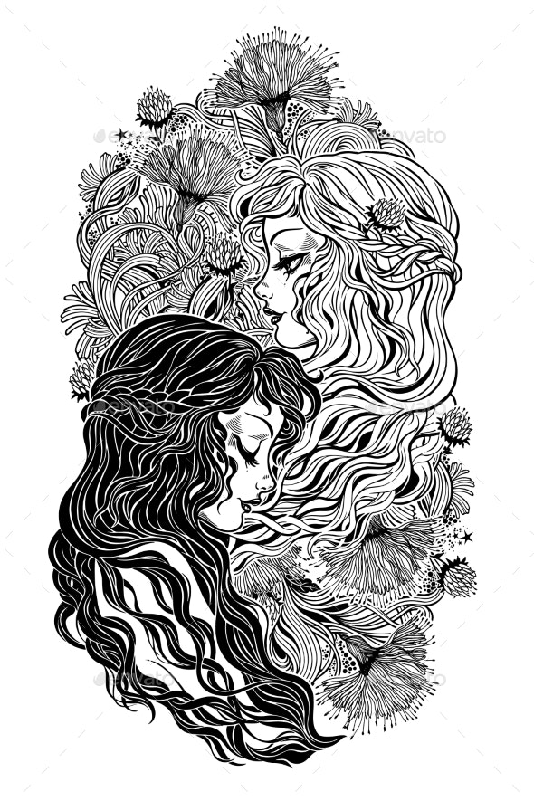 Two Girl Characters As Day and Night - People Characters