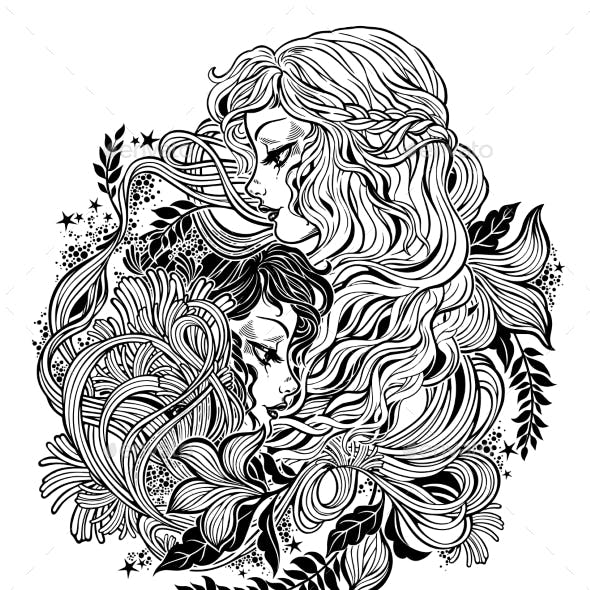 Two Women As Happiness and Sadness Union Symbol
