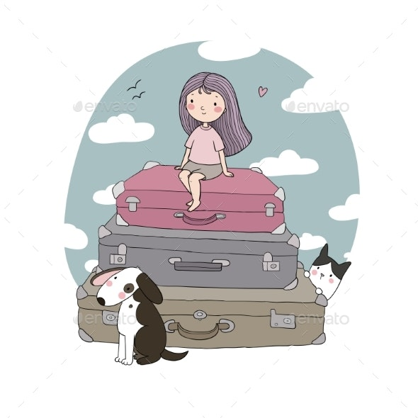 Happy Travel. Cute Cartoon Girl, Dog and Suitcases - Man-made Objects Objects
