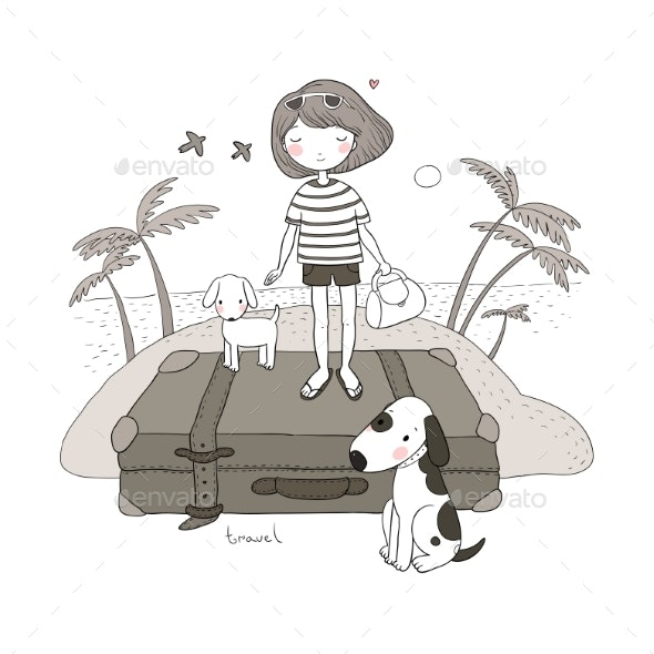 Happy Travel. Cartoon Girl, Dog and Suitcases - Man-made Objects Objects