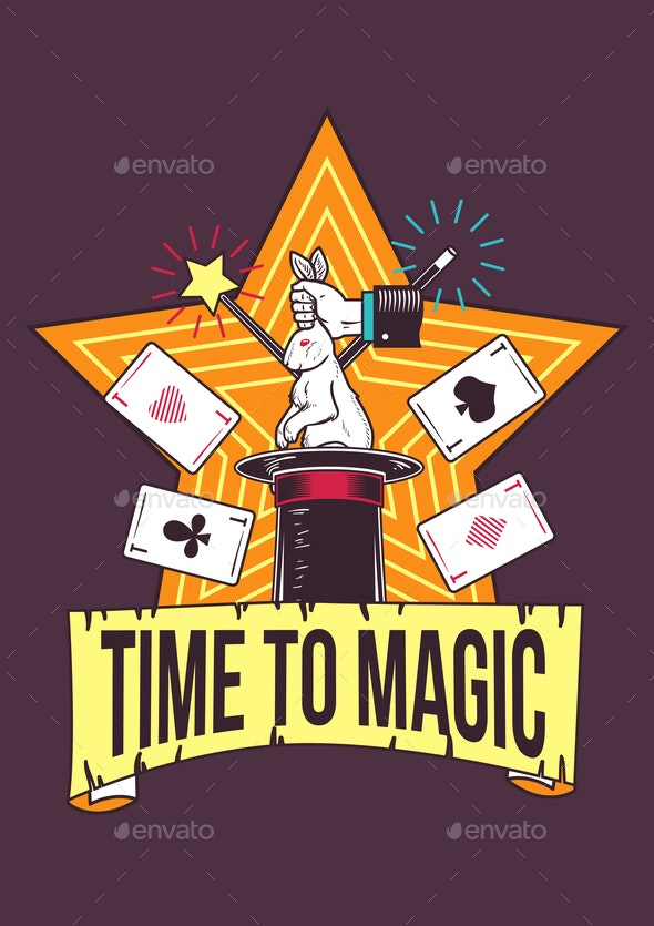 Poster Design with Magic Tricks on Background - Miscellaneous Vectors