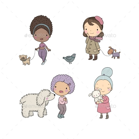 People with Pets - Animals Characters