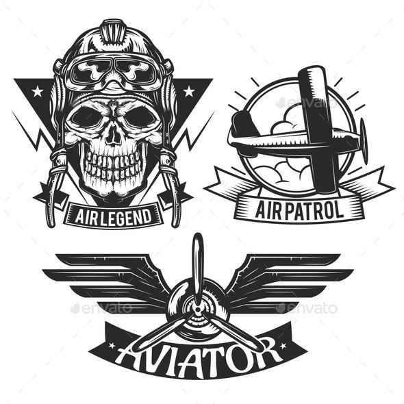 Set of Aircraft Emblems - Miscellaneous Vectors