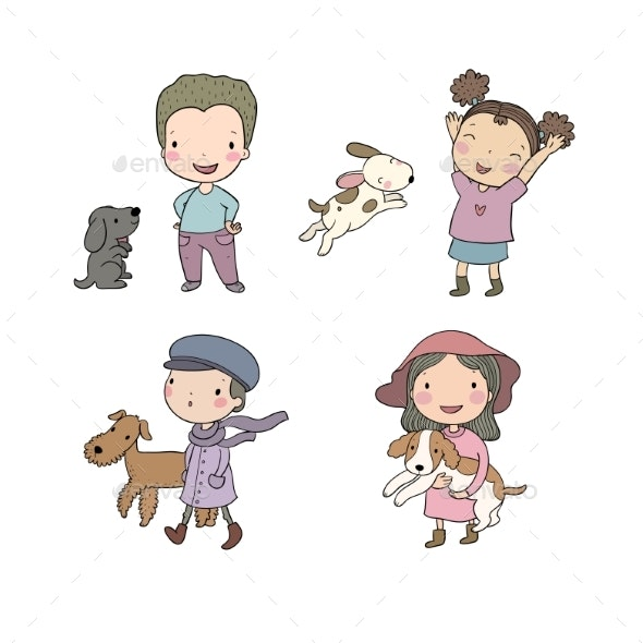 People with Pets. - Animals Characters