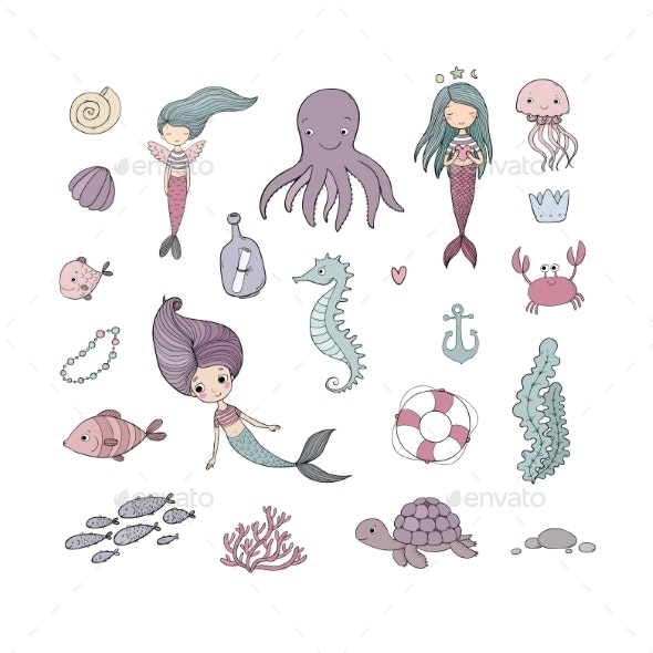 Marine Illustrations Set. - Animals Characters