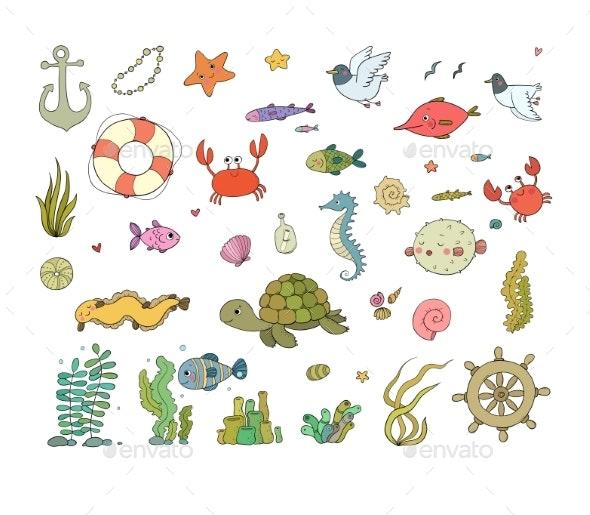 Big Set of Marine. Sea Theme. - Miscellaneous Vectors