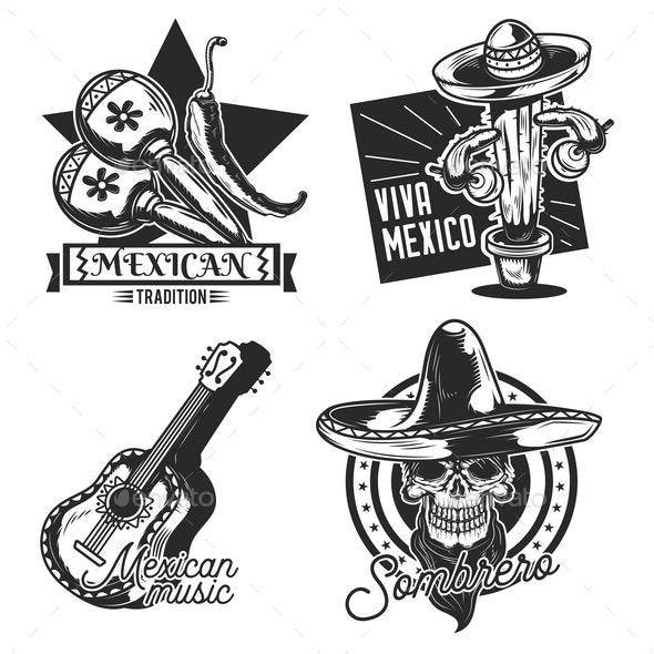 Set of Mexico Emblems - Miscellaneous Vectors
