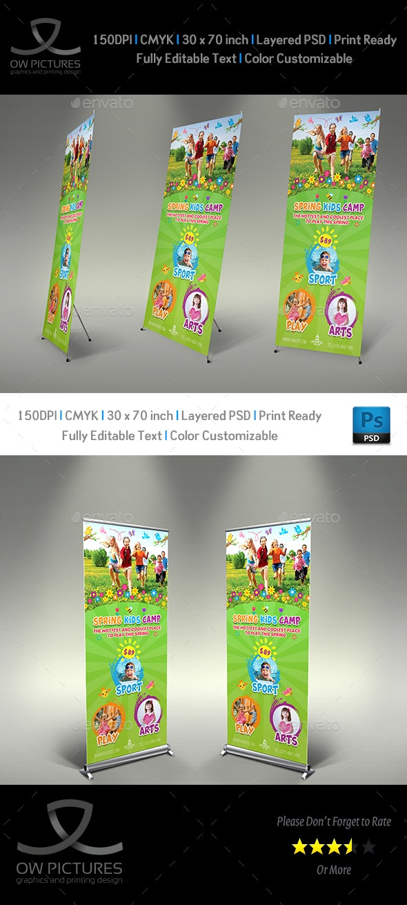 Spring Kids Camp Signage Banner Roll Up Template - Signage Print Templates