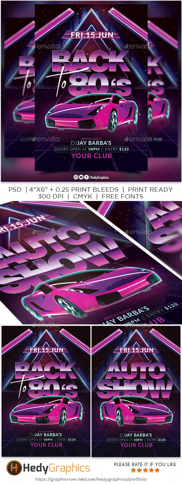 Back to 80s Flyer - Clubs & Parties Events