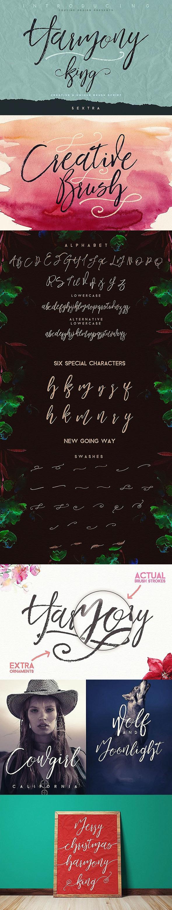 Harmony King - Brush Font - Hand-writing Script