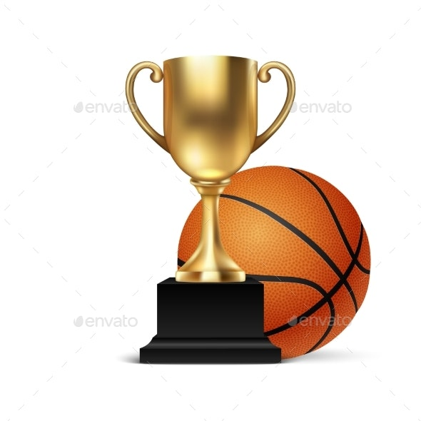 Golden Champion Cup Icon with Basketball - Sports/Activity Conceptual