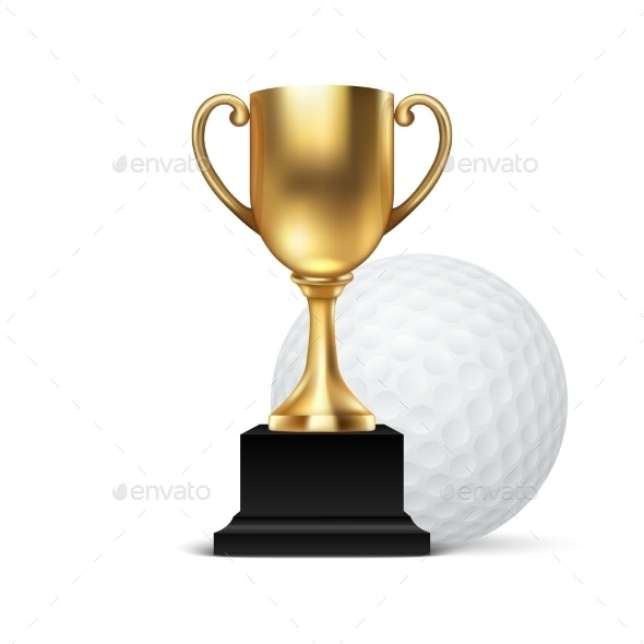 Golden Champion Cup Icon with Golf Ball - Sports/Activity Conceptual