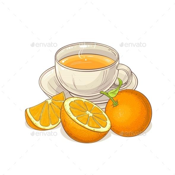 Orange Tea Illustration - Food Objects