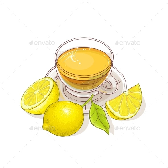 Lemon Tea Illustration - Food Objects