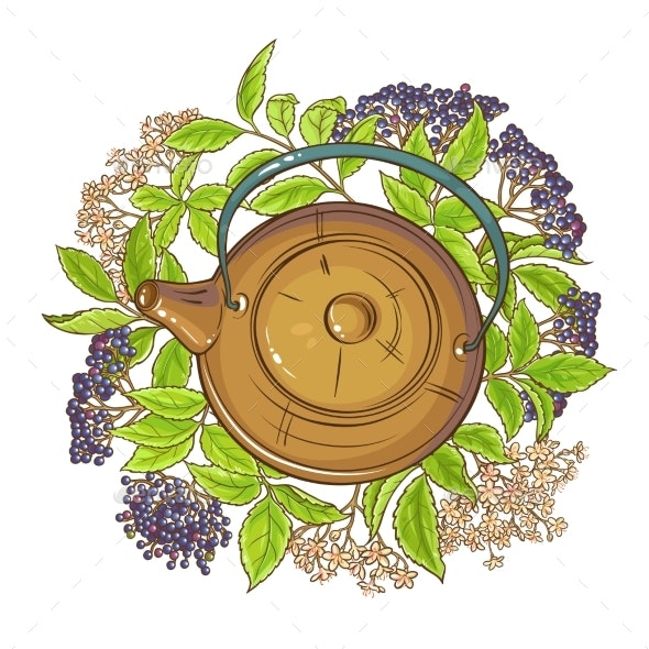 Elderberry Tea Illustration - Food Objects