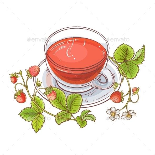 Strawberry Tea Illustration - Food Objects