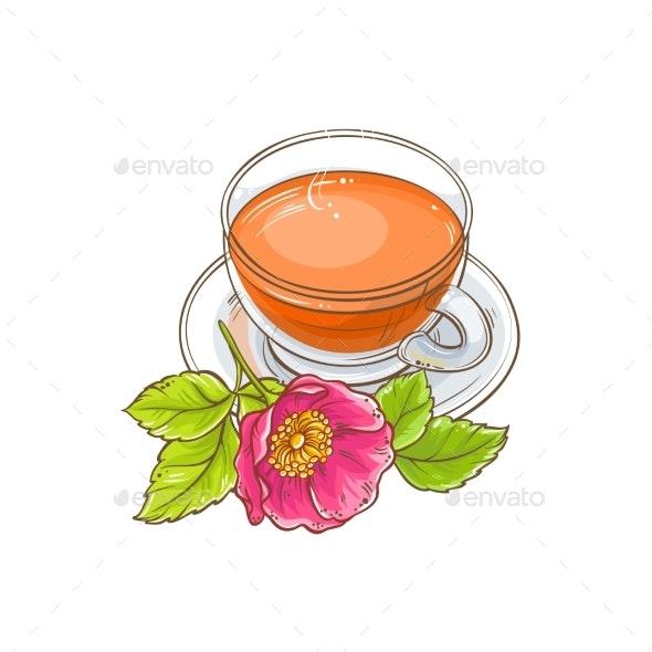 Dog Rose Tea Illustration - Food Objects