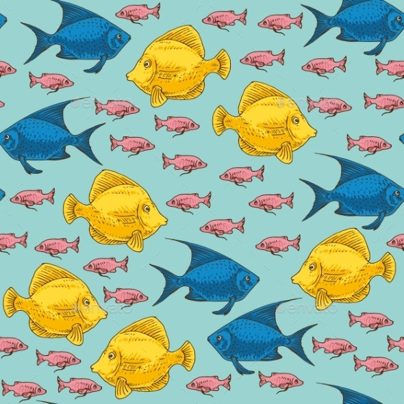 Exotic Fish Seamless Pattern - Backgrounds Decorative