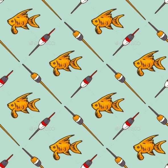Fishing Floats and Goldfish Seamless Pattern - Backgrounds Decorative