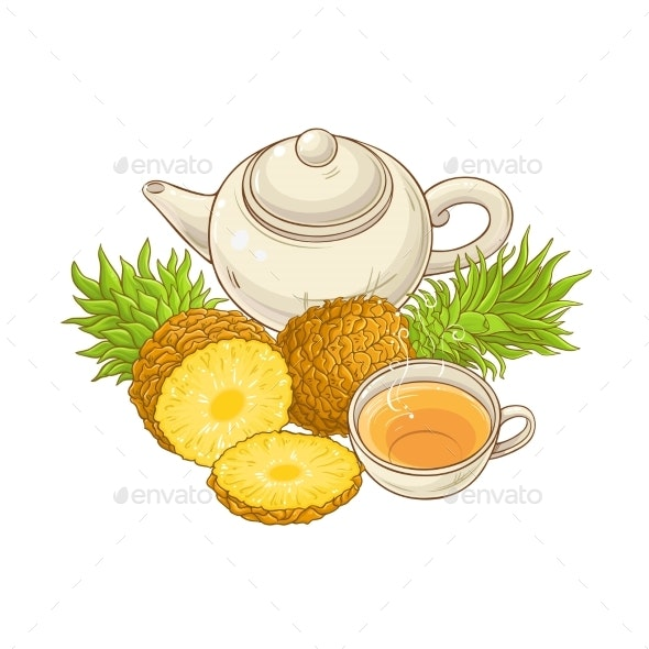 Pineapple Tea Illustration - Food Objects