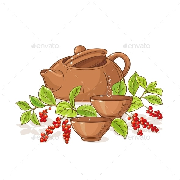 Schisandra Tea Illustration - Food Objects