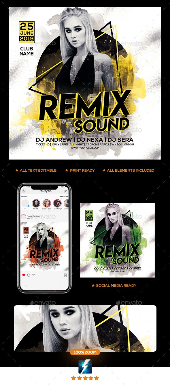 Remix Sound Party Flyer - Clubs & Parties Events