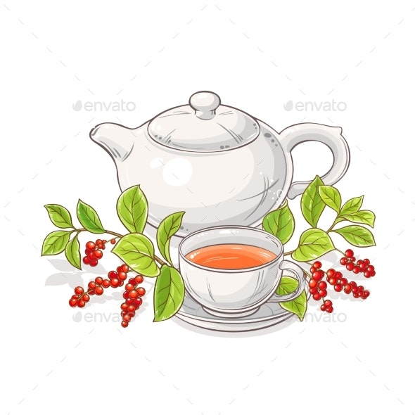 Schisandra Tea in Teapot Illustration - Food Objects