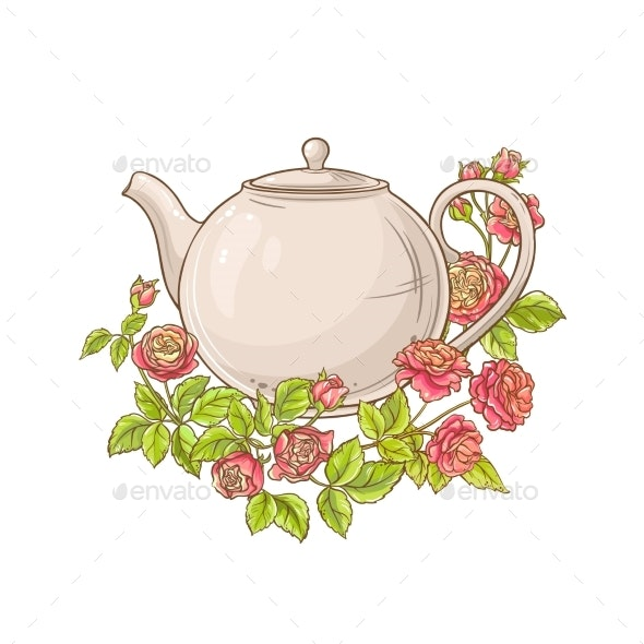 Rose Tea Vector Illustration on White Background - Health/Medicine Conceptual