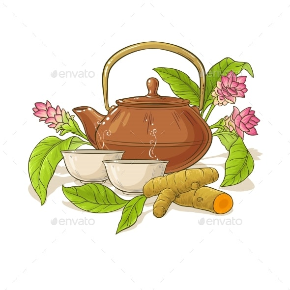 Turmeric Tea in Teapot Illustration - Food Objects