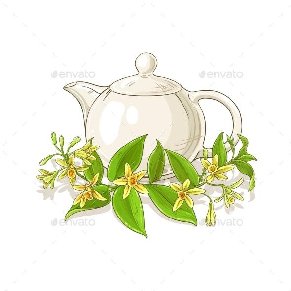 Vanilla Tea Vector Illustration - Food Objects